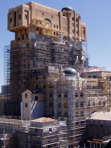 Tower of Terror Disney California Adventurec onstruction scaffolding