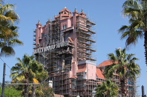 tower of terror hollywood studios scaffolding new paint job low voc