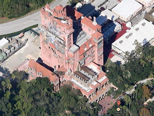 tower of terror aerial photos google maps hollywood studios mgm front side