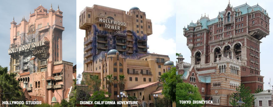 Tower of Terror architecture differences styles HS DCA TDS