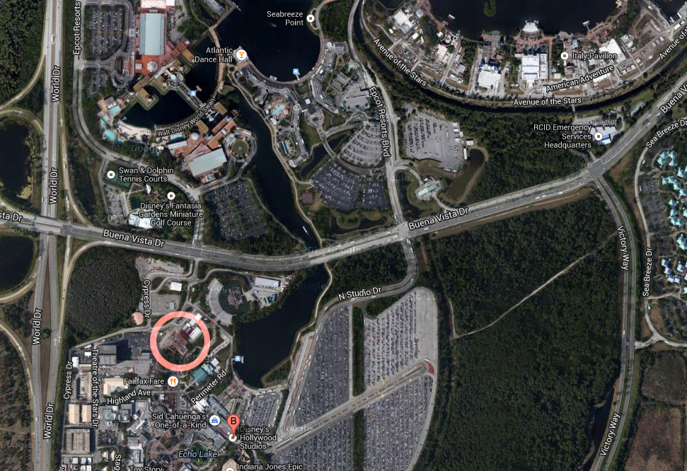 Hollywood Studios Tower of Terror backstage map aerial