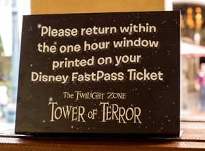 Tower of Terror Fast Pass return window