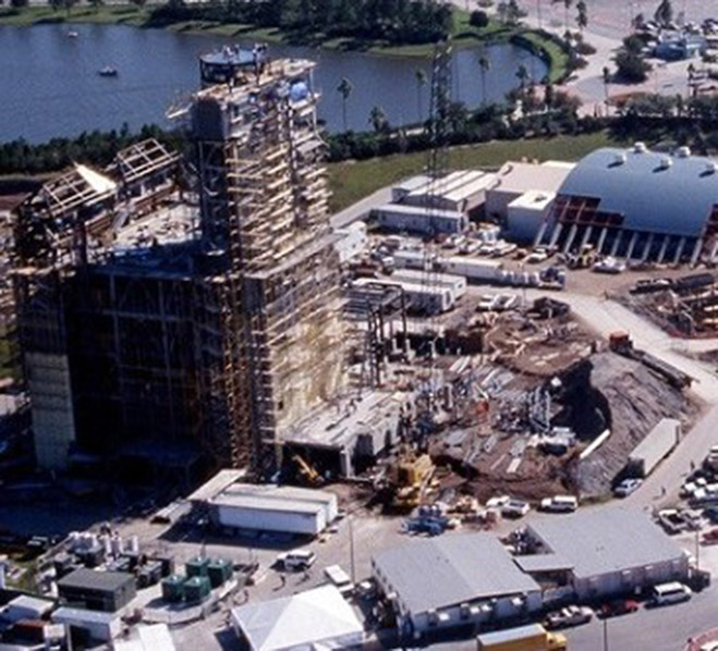 aerial photo of Tower of Terror construction in Hollywood Studios Florida