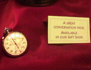 "Twilight Zone references in the Tower of Terror a stopwatch from ""A Kind of a Stopwatch"" in a glass display case"