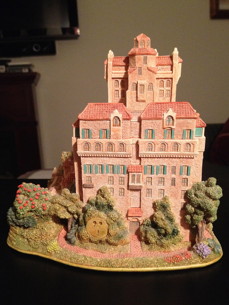 TowerSecrets: Lilliput Lane Tower of Terror collectible sculpture. Back side view.