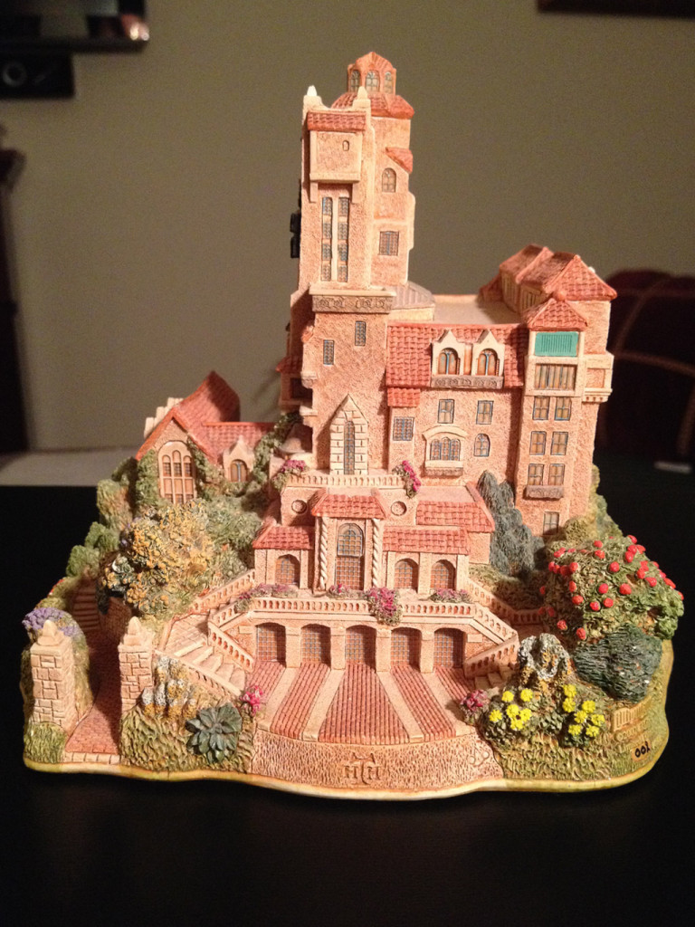 TowerSecrets: Lilliput Lane Tower of Terror collectible sculpture. Left side view.